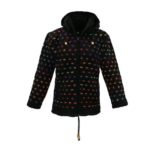 KATHMANDU Damen Woll Strickjacke mit Fleece Innenfutter Black dots